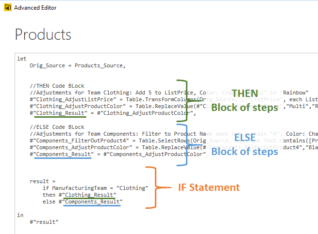 Conditional Code Branching in Power BI Query: if…then…else